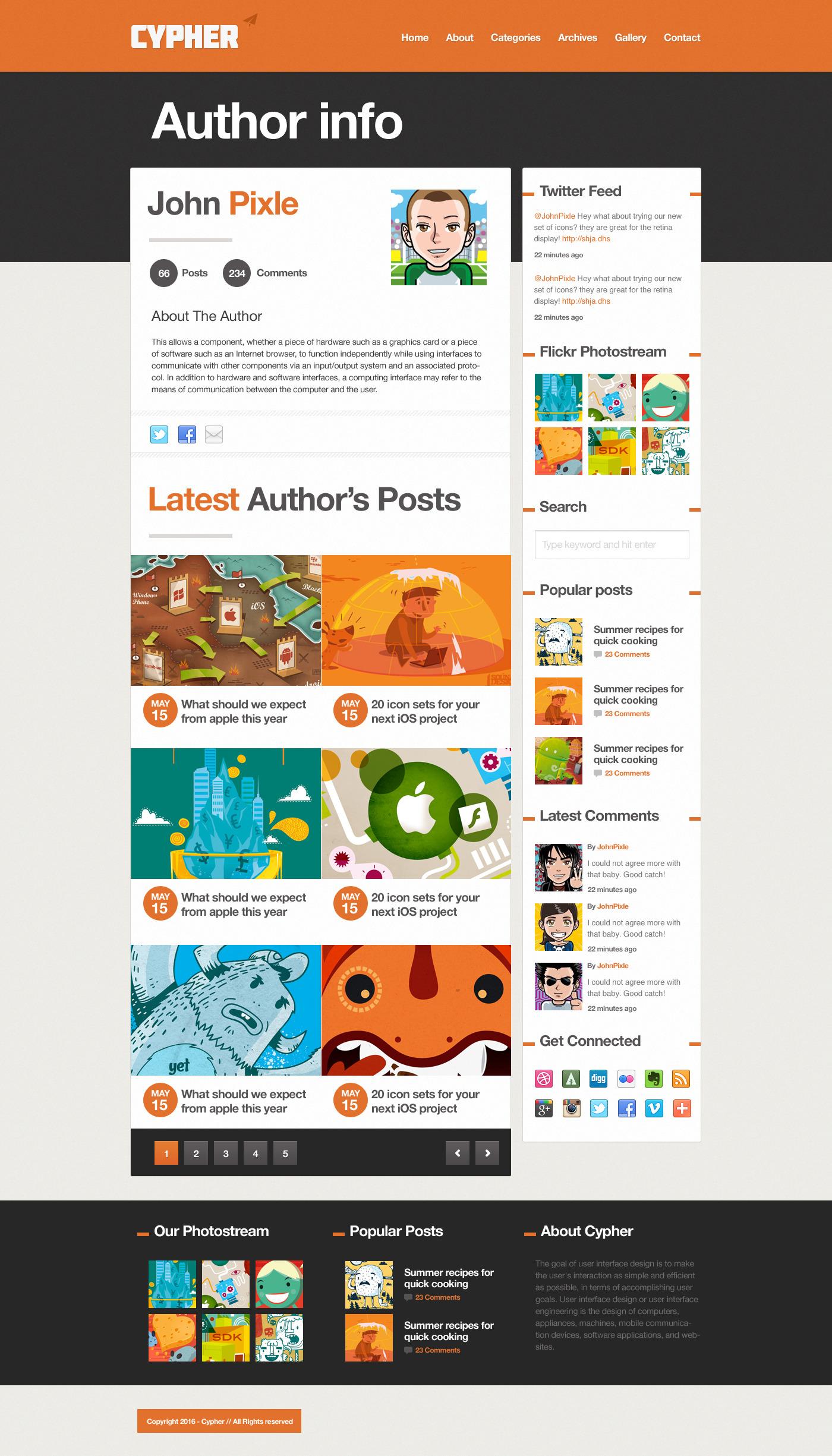 Cypher - A bold Blog / News .PSD theme