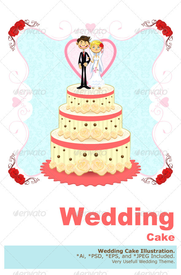 Romantic Wedding Cake - Food Objects