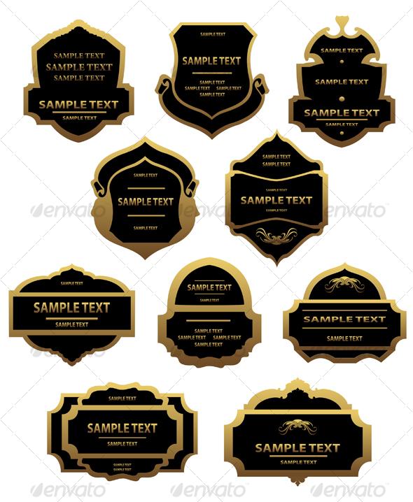 GraphicRiver Set of golden labels and frames 88167