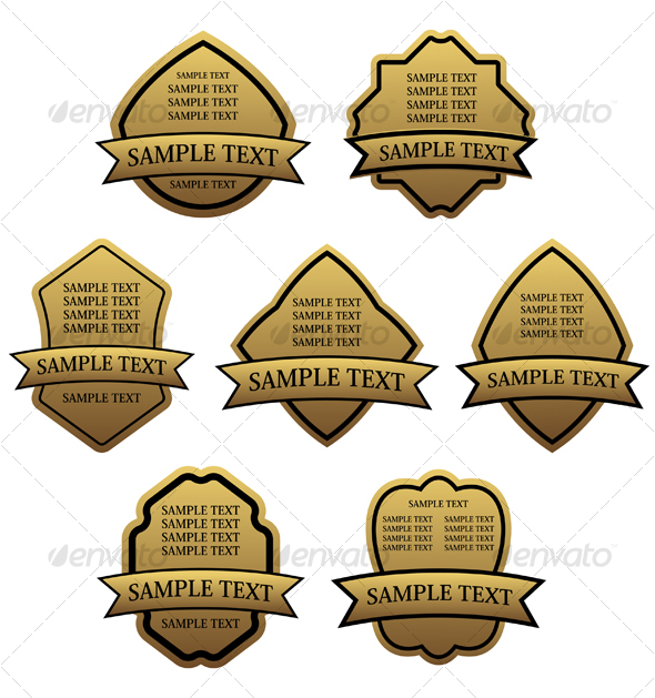 Set of golden labels for design - Decorative Vectors