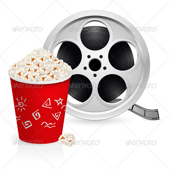 The Film Reel and Popcorn - Objects Vectors