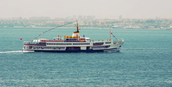 Istanbul Ferry Passing From Left To Right