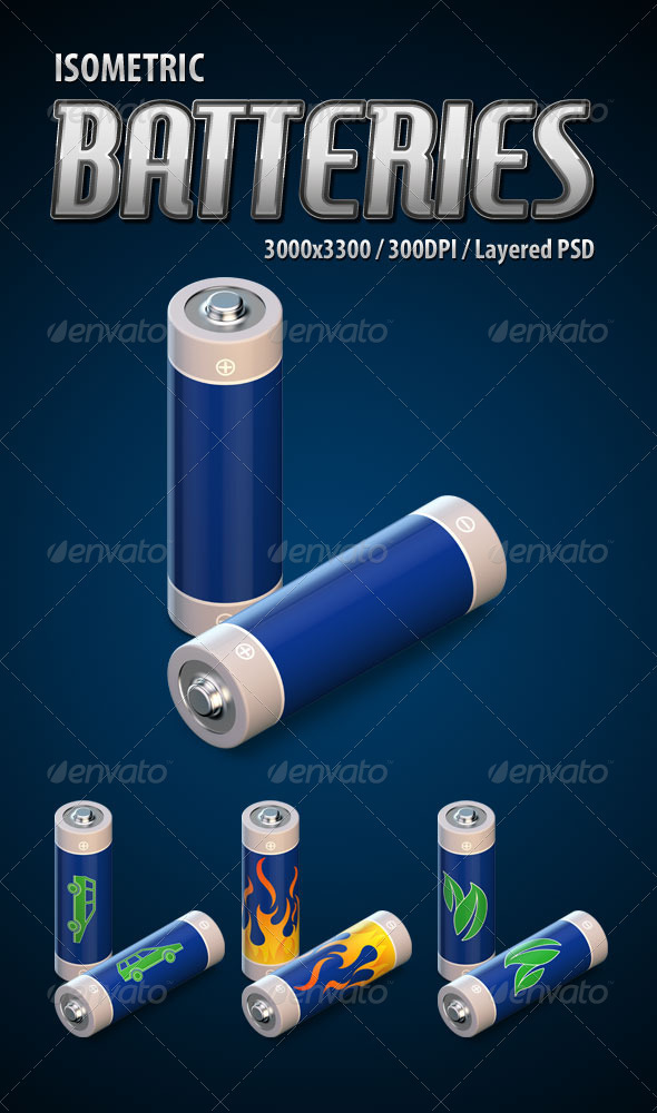 Isometric 3D Batteries - Objects 3D Renders