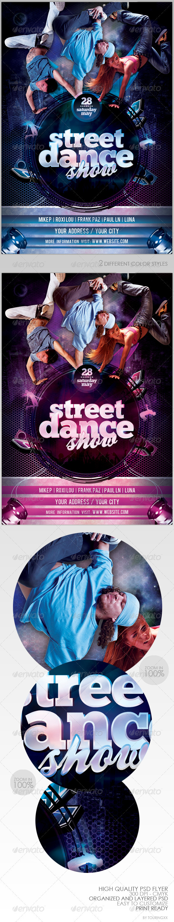 Street Dance Show Flyer Template - Flyers Print Templates