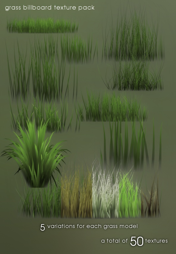 Grass billboard texture pack - 3DOcean Item for Sale
