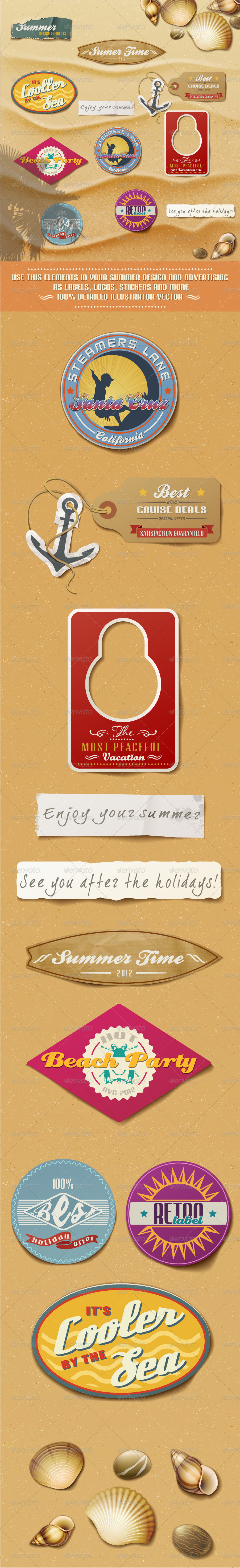 Summer Design Elements On Sand Background. - Seasons/Holidays Conceptual