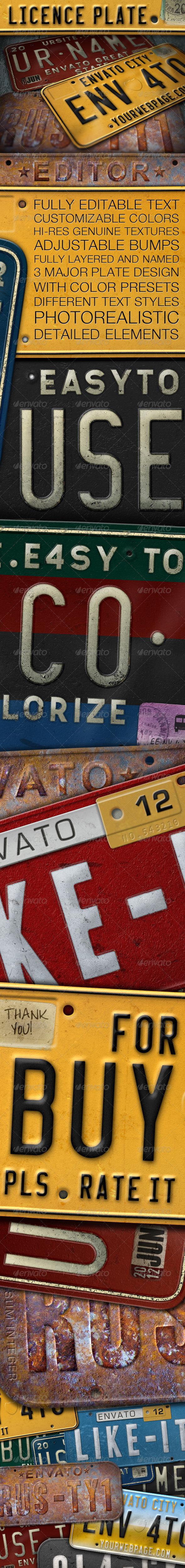 GraphicRiver License Plate Editor 2393517