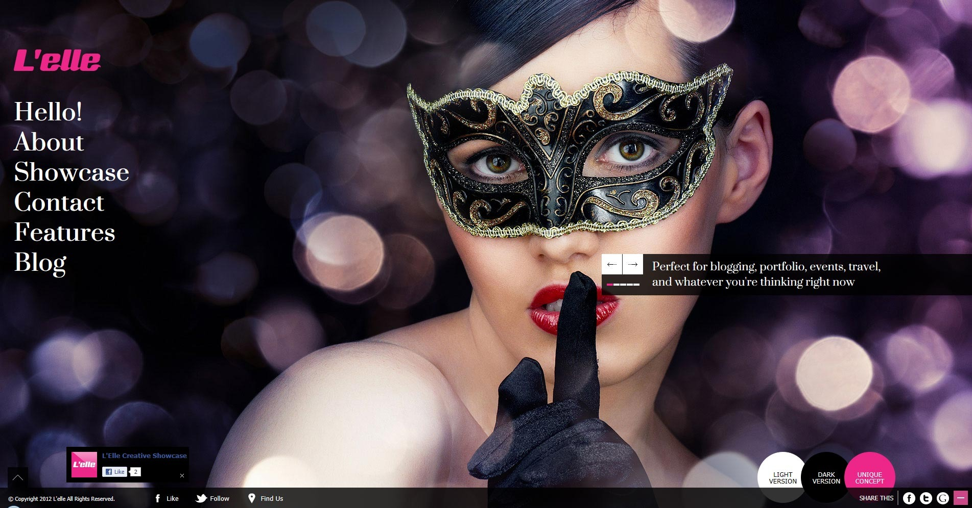 L'elle Creative Agency Showcase - homepage with facebook like window appear
