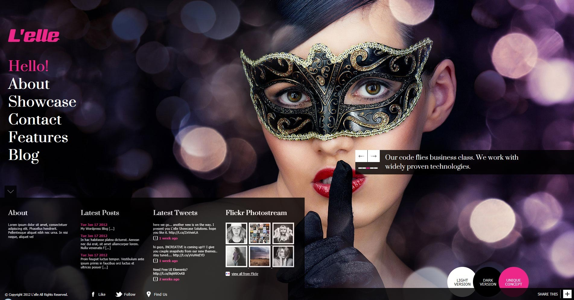 L'elle Creative Agency Showcase - homepage with flyout footer menu bar opened