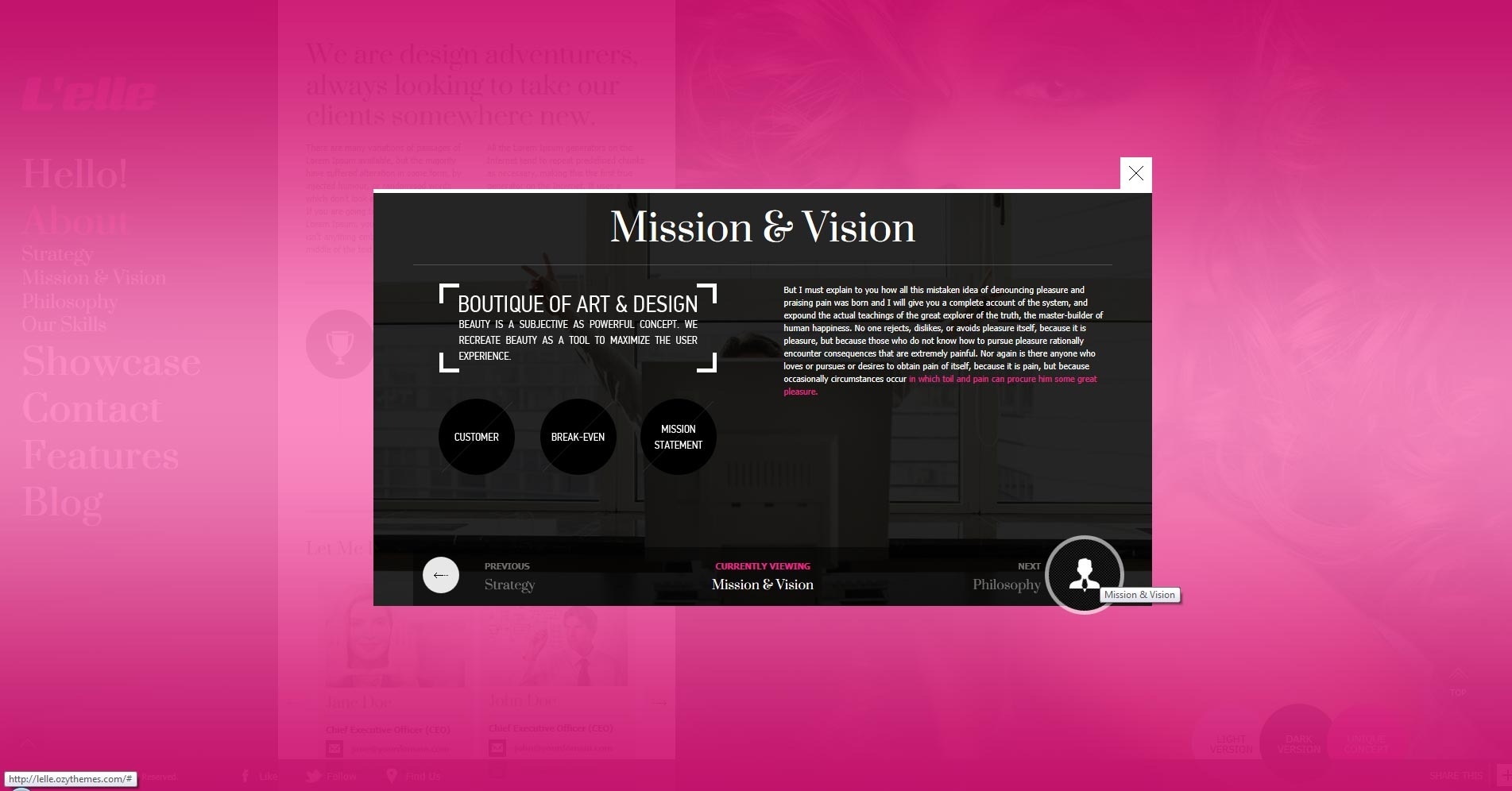 L'elle Creative Agency Showcase - about us overlay mission content opened