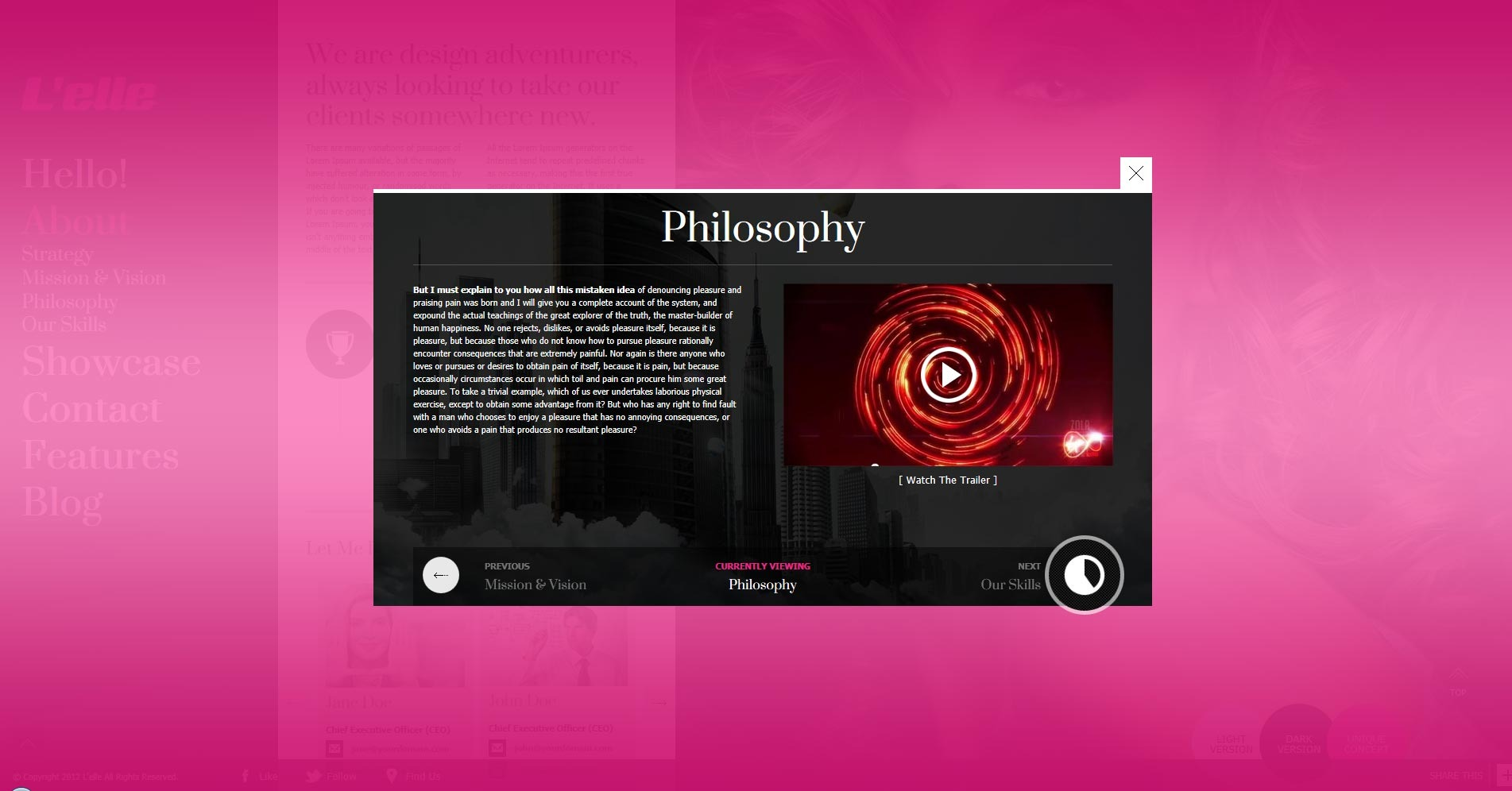 L'elle Creative Agency Showcase - about us overlay philosophy content opened