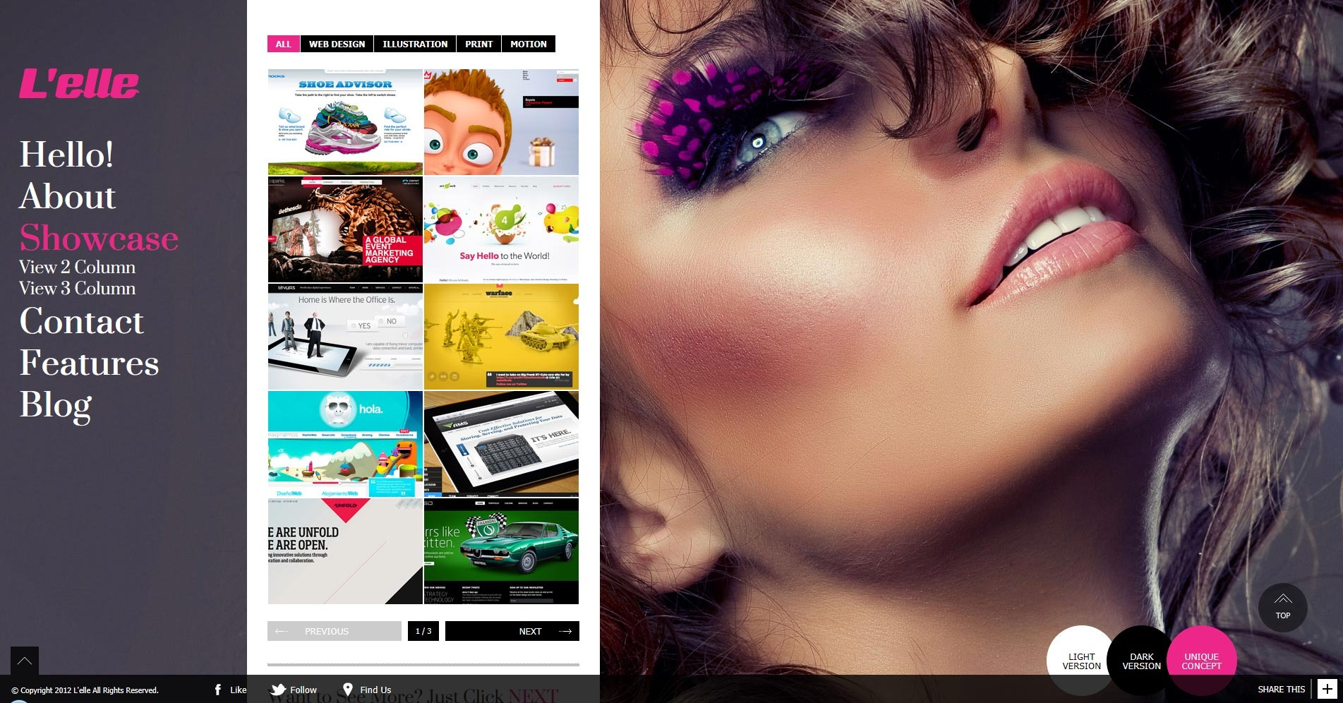 L'elle Creative Agency Showcase - showcase 2column overall view