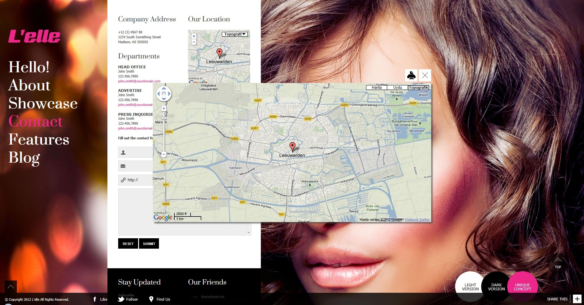 L'elle Creative Agency Showcase - contact section enlarged google map