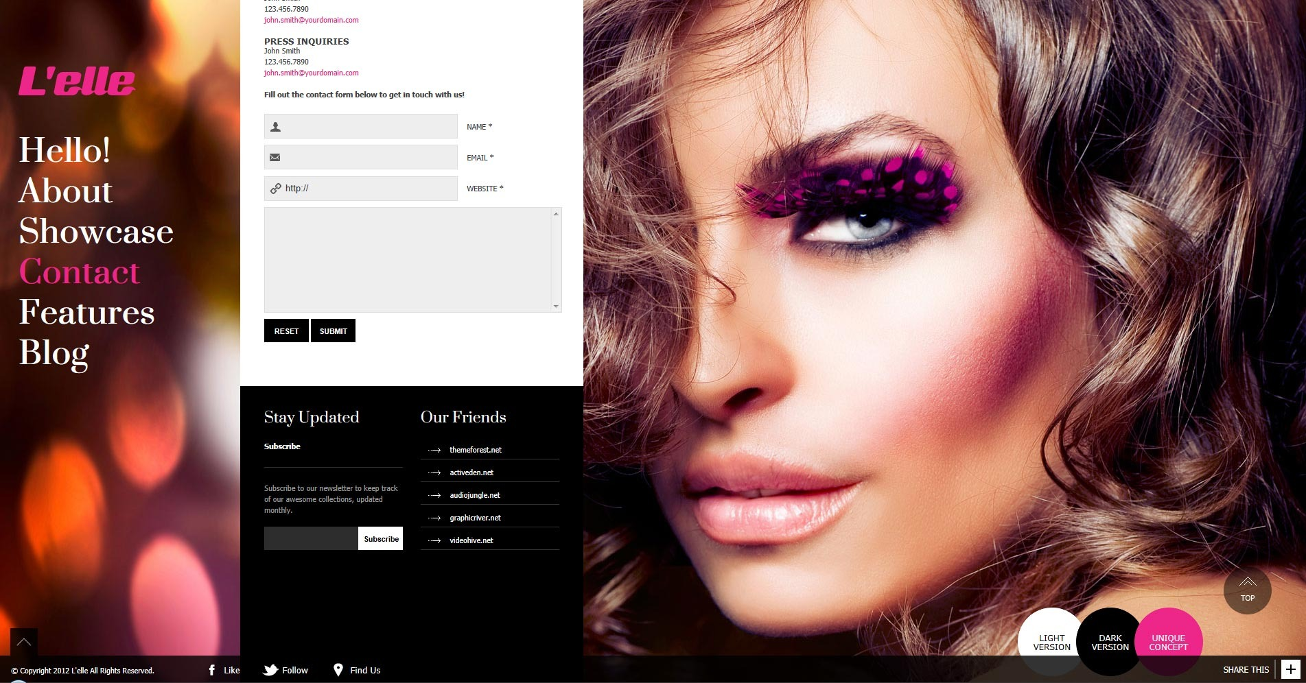 L'elle Creative Agency Showcase - newsletter subscribe form + external links overall view