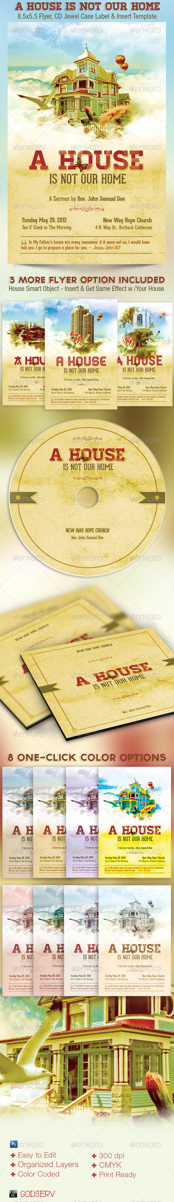 A House Is Not Our Home Flyer and CD Template - Church Flyers