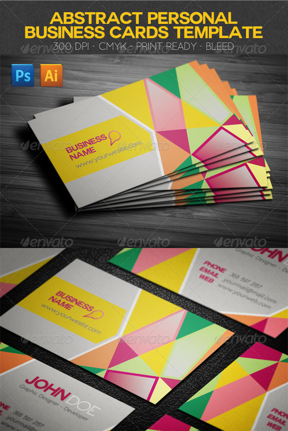 Abstract Personal Business Cards Template - Creative Business Cards