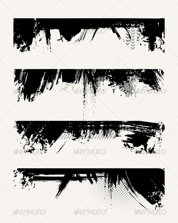 GraphicRiver Set of grunge edges 88293