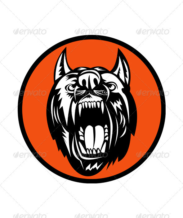 Angry Mongrel Dog Head - Animals Characters