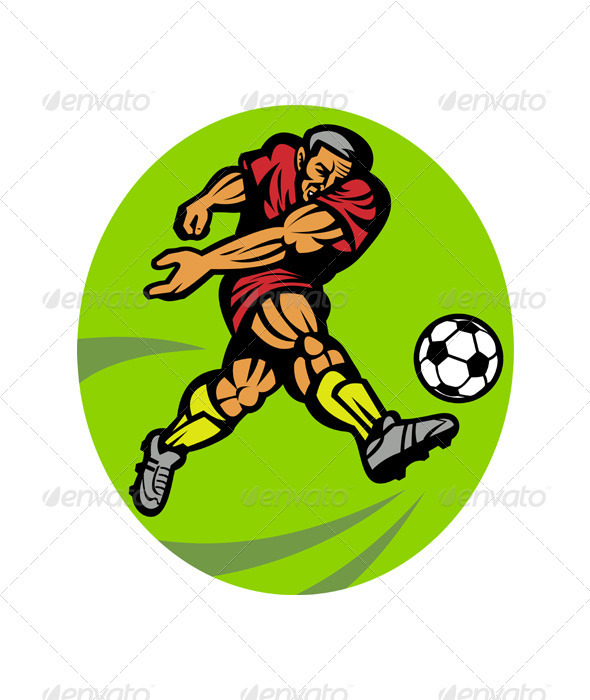 Soccer Player Running Kicking Ball
