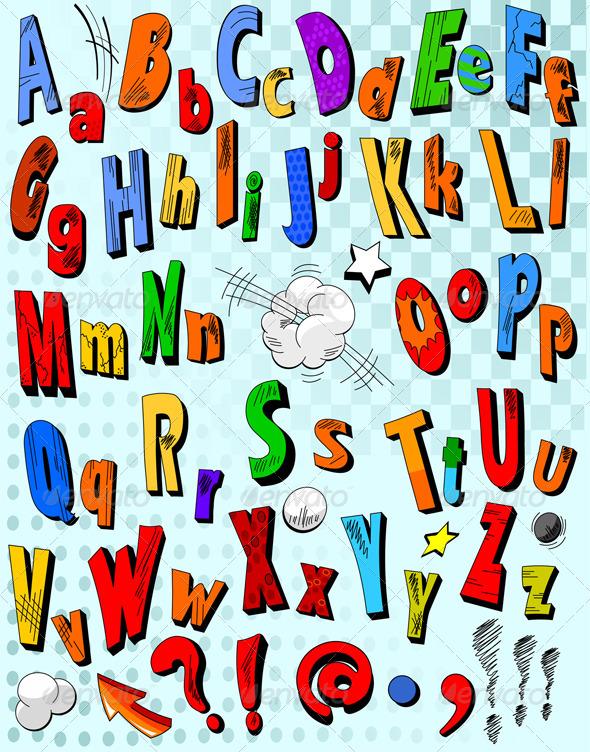 GraphicRiver Comic book alphabet 2397367