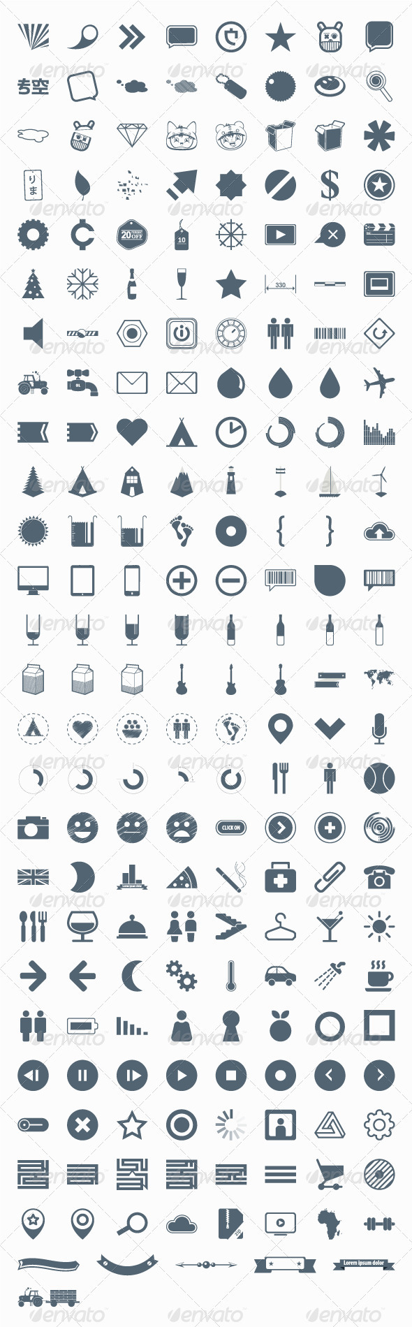 GraphicRiver 206 vector icons signs symbols and pictograms 2397808