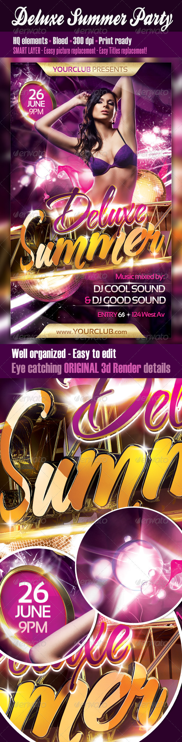 Deluxe Summer Party Flyer - Clubs & Parties Events