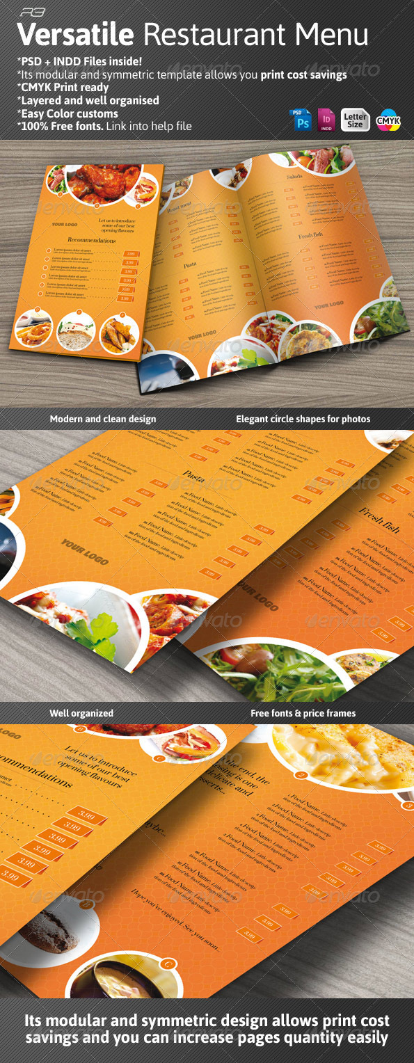 Versatile Restaurant Menu - Food Menus Print Templates