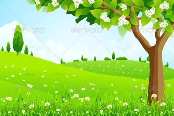 Bosque verde con árbol, escena vectorial