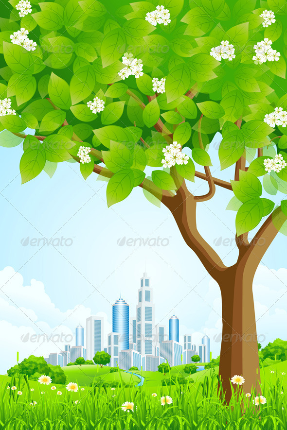Green Background with Tree and Modern City - Landscapes Nature