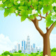 Green Background with Tree and Modern City - GraphicRiver Item for Sale