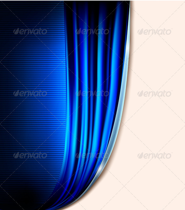 Curtain blue background vector - Backgrounds Decorative