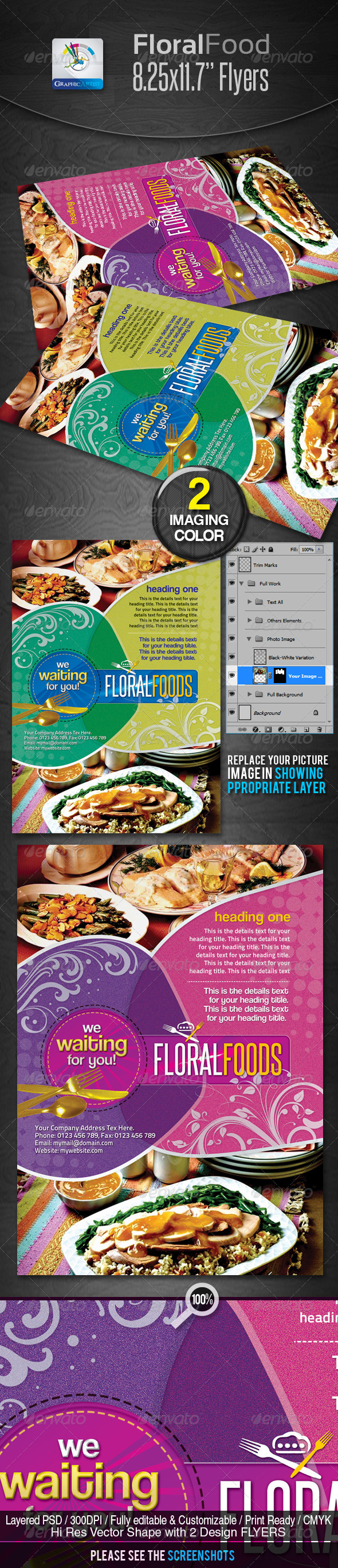 GraphicRiver Floral Restaurant Food Flyers 2402946