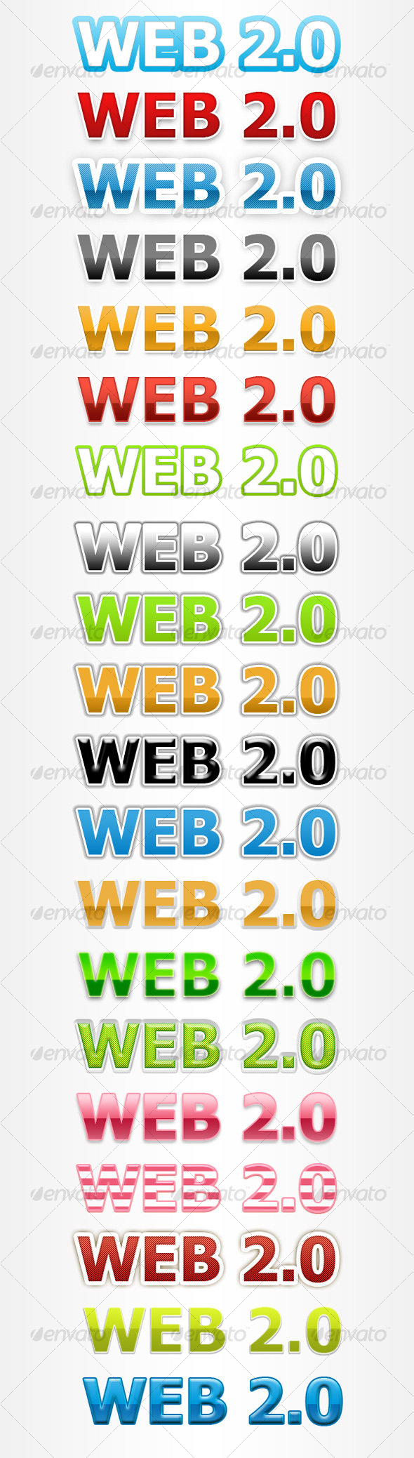 GraphicRiver 20 Pro Web 2.0 Text Styles 88552