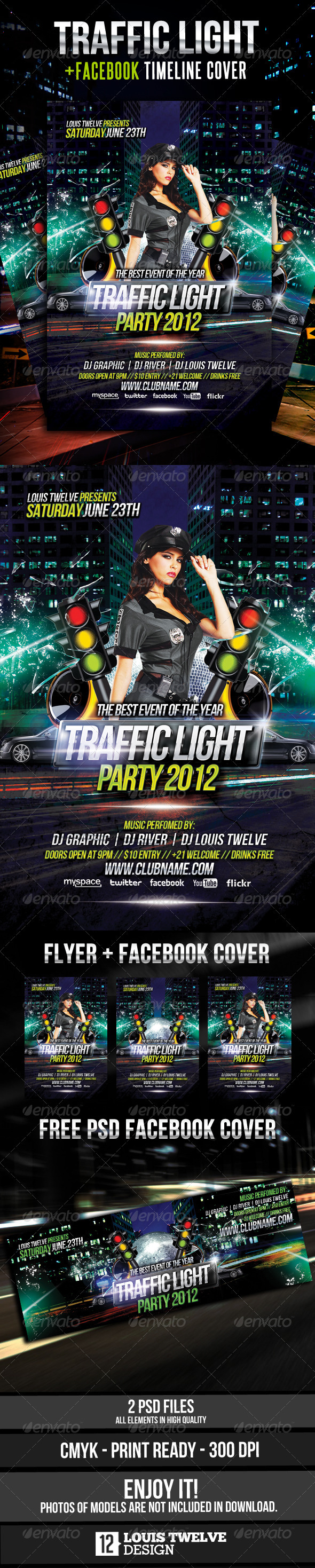 Traffic Light Party Flyer + Facebook Timeline - Clubs & Parties Events