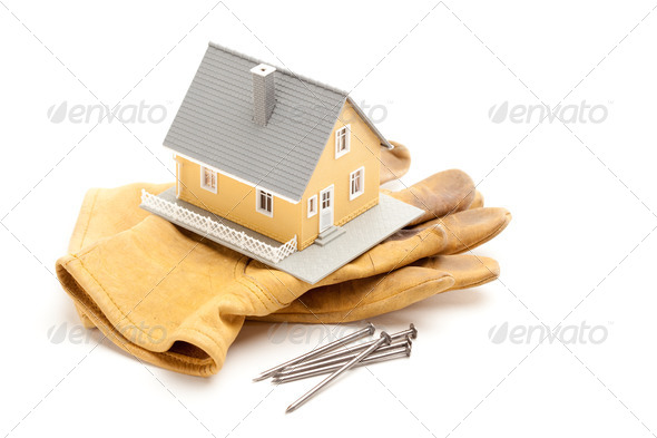 House, Gloves and Nails - Stock Photo - Images