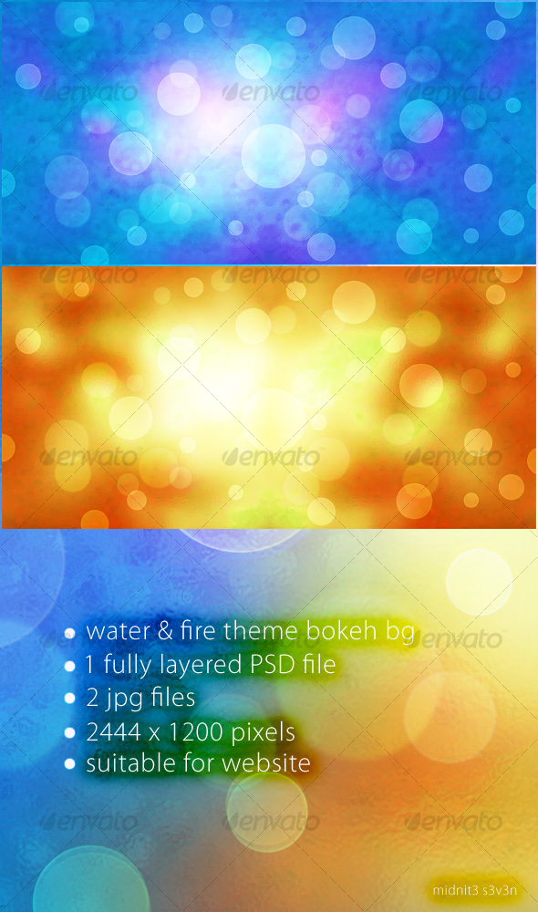 GraphicRiver Water & Fire Theme Bokeh Background 88610