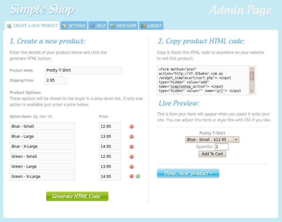 Simple PHP Shopping Cart - Create Product Screen:  This is the admin page allowing you to create a new product for your website.