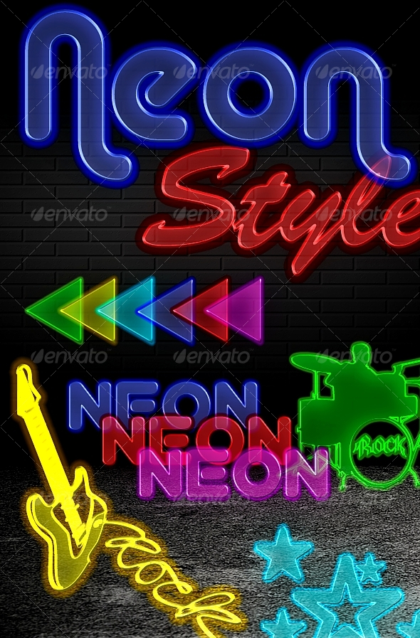 Graphic River Neon Styles 6 colors  Add-ons -  Photoshop  Styles  Text Effects 88634