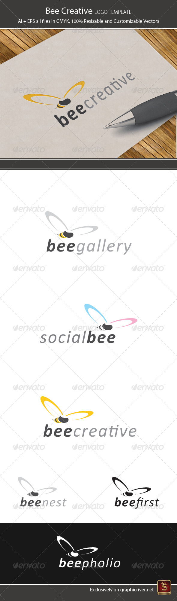 Bee Creative Logo Template - Animals Logo Templates