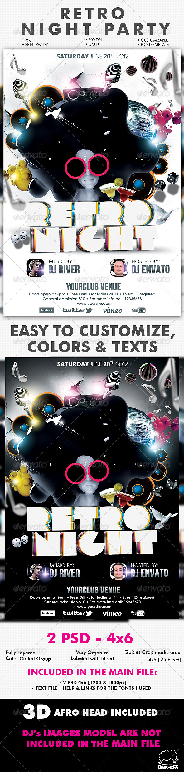 GraphicRiver Retro Night Party Flyer Template 2407847