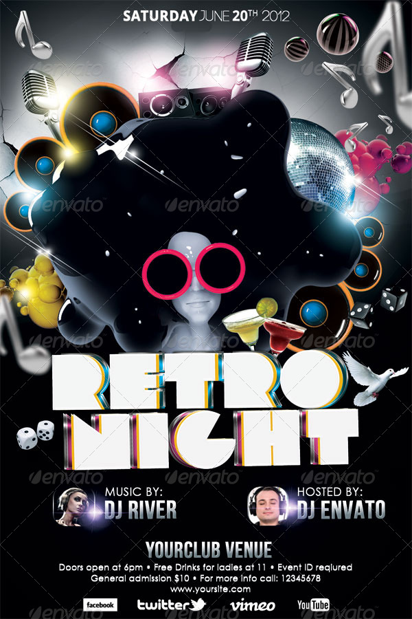 Retro Night Party Flyer Template by hermz – Retro Flyer Templates