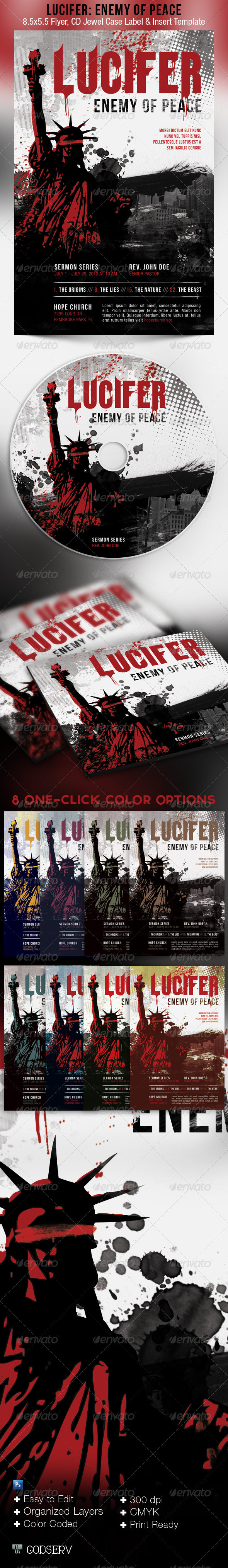 Lucifer Enemy of Peace Flyer and CD Template - Church Flyers