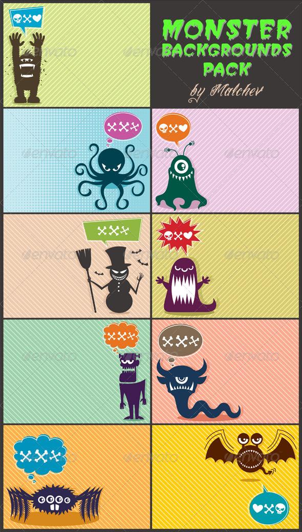 Monster Backgrounds Pack - Backgrounds Decorative