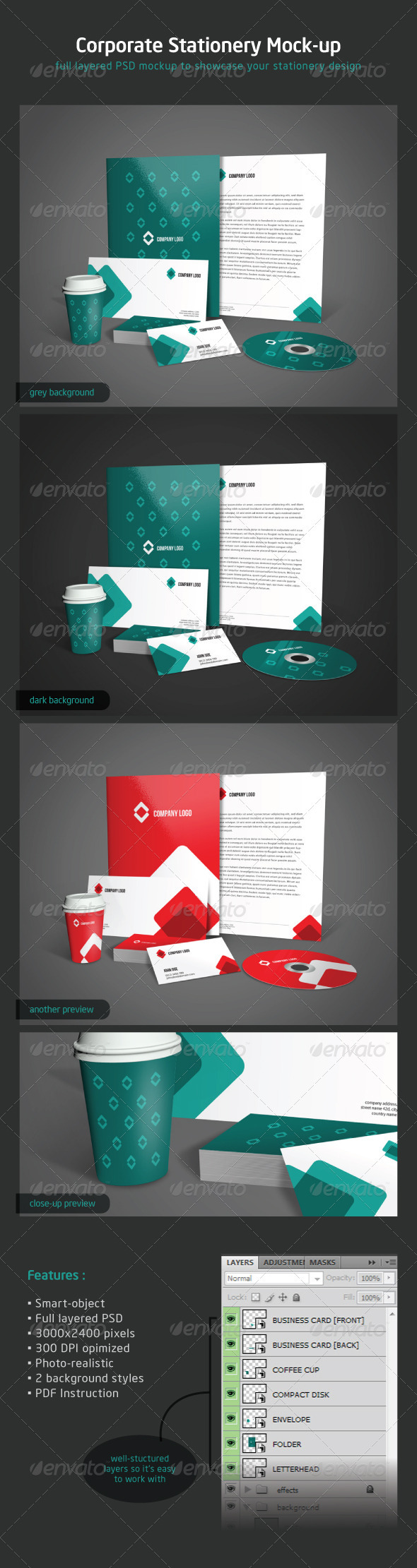 GraphicRiver Corporate Stationery Mock-up 2410703