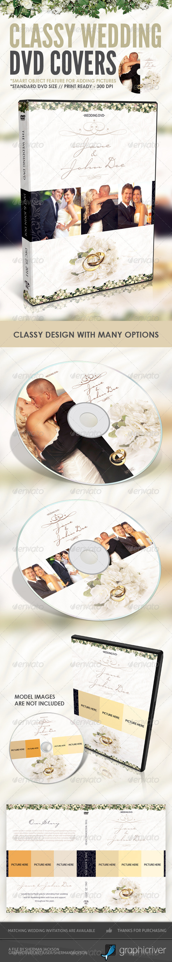Classy Wedding DVD Covers - CD & DVD artwork Print Templates