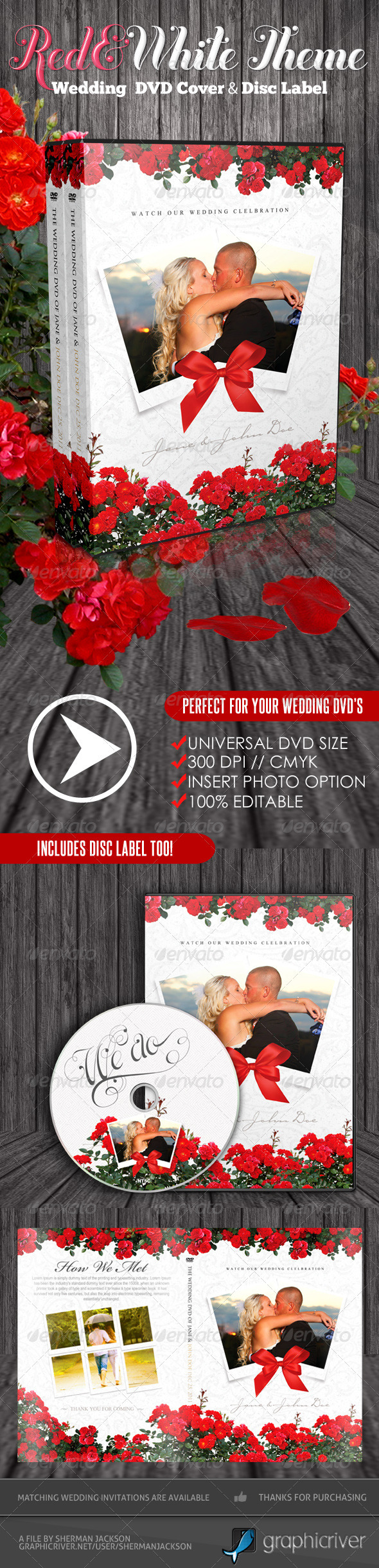 Red & White Theme Wedding DVD & Disc Label