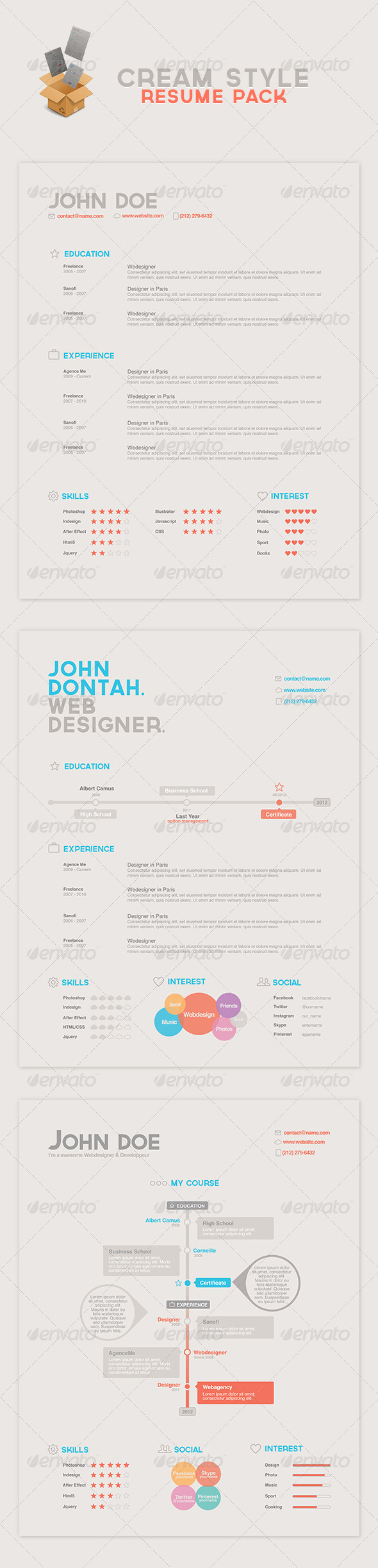 Cream Style Resume Pack - Resumes Stationery
