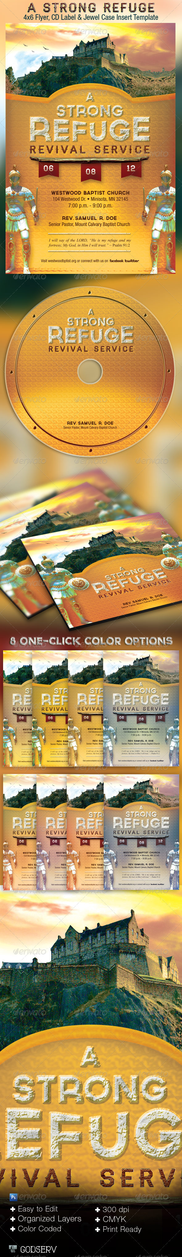 A Strong Refuge Revival Service Flyer and CD