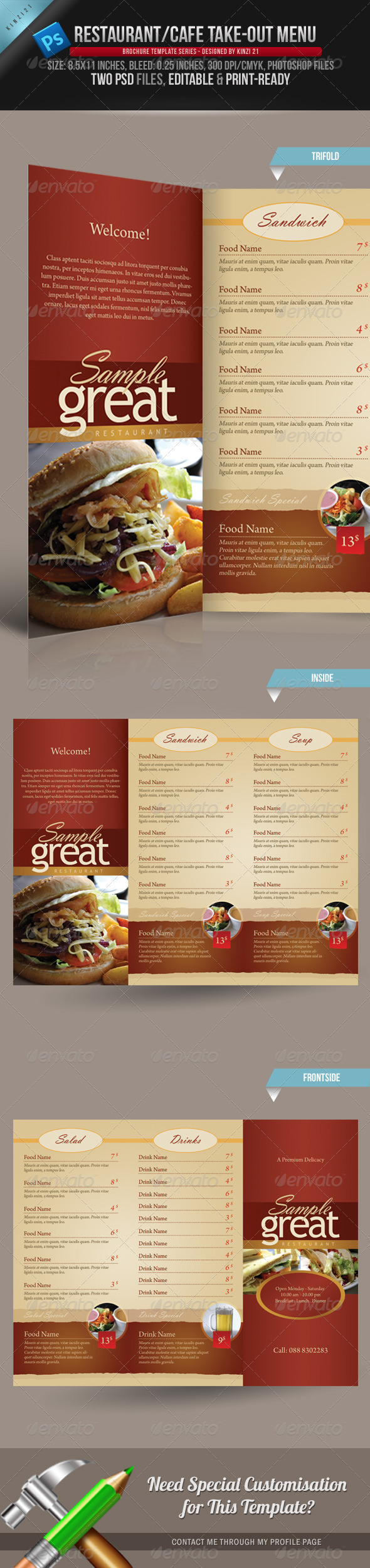 GraphicRiver Restaurant Cafe Take-out Menu Template 160495
