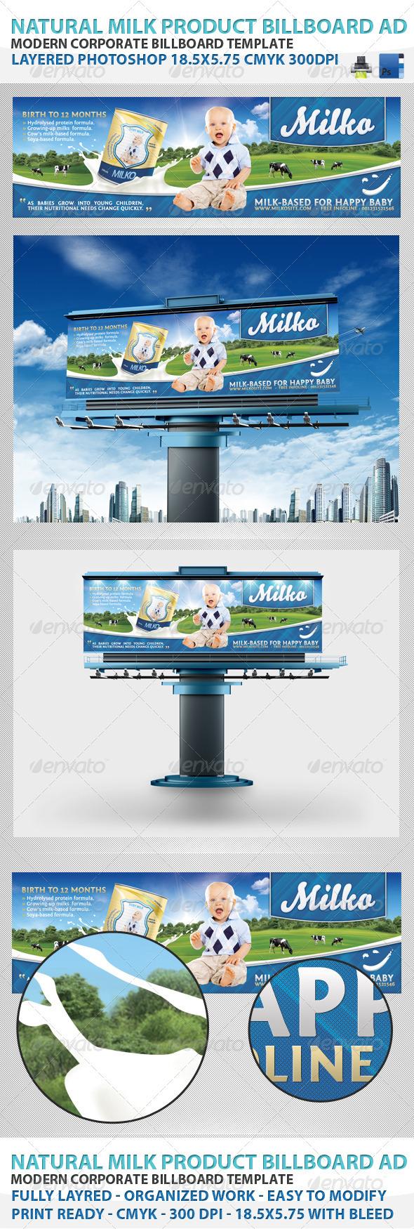 Natural Milk Product Billboard - Signage Print Templates